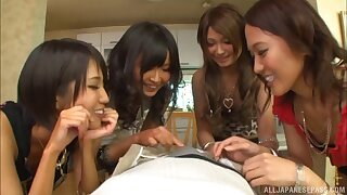 Scalding Japanese teen prevalent turns sucking a schlong just about a kinky groupsex shoot